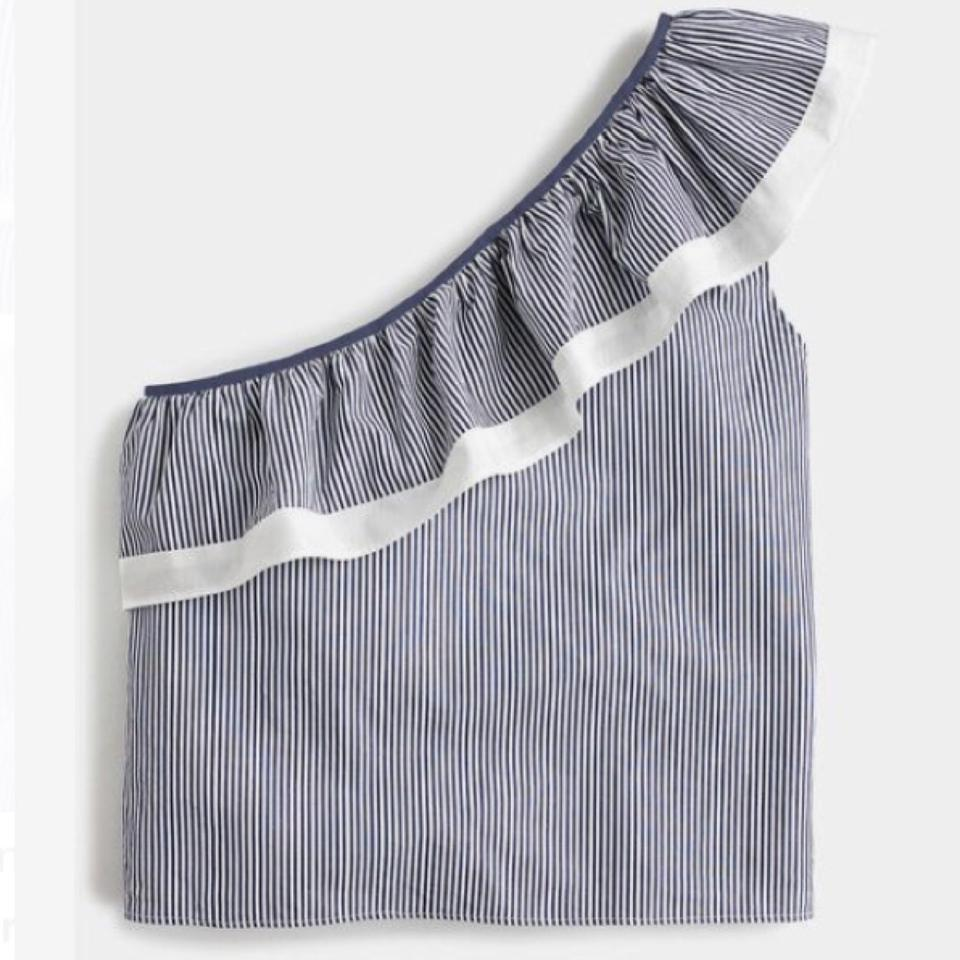 d11af6eadc798 J.Crew Blue   White Navy One Shoulder Ruffle Shirt Striped Blouse ...