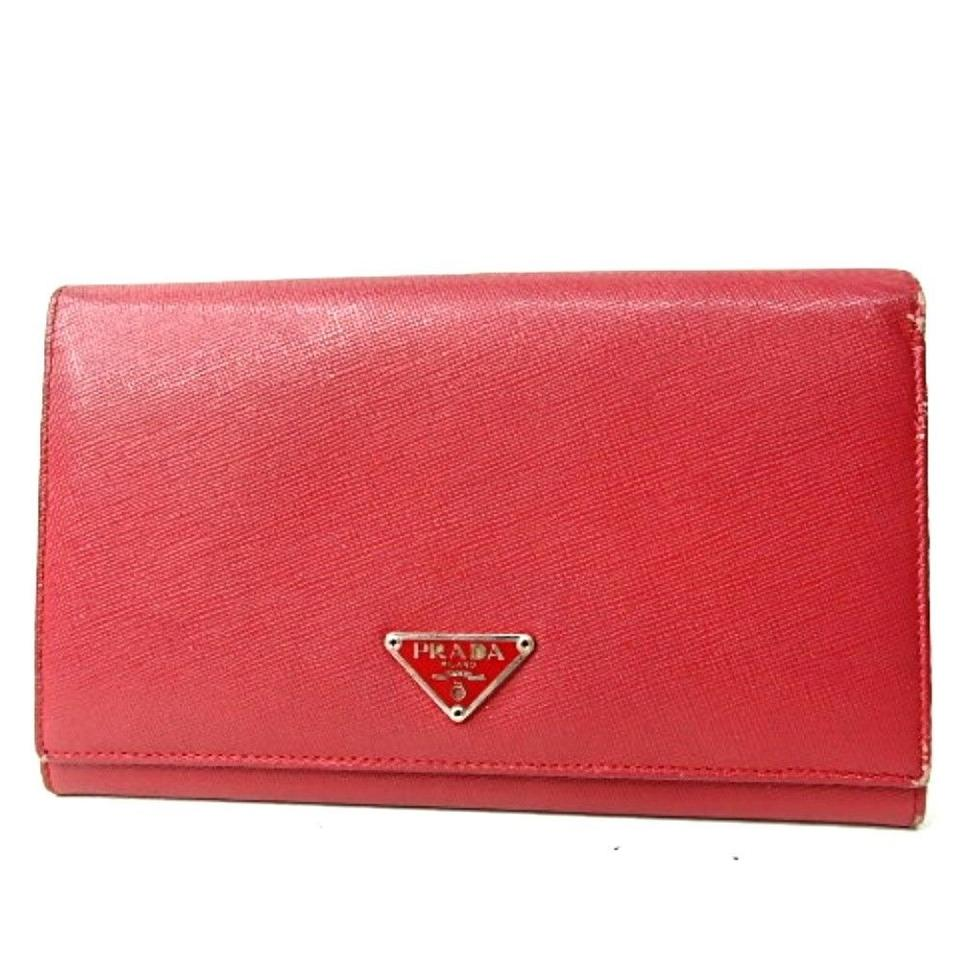 48dd0d5ba5034d Prada Triangle logo saffiano Prada Red long wallet purse clutch PVC leather  Image 0 ...