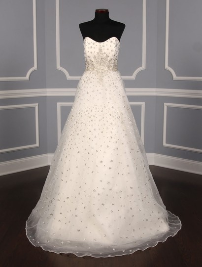 St. Pucchi Ivory/Silver Silk Organza W/Embroidery and Beadwork Cassandra Z234 Formal Wedding Dress Size 6 (S) Image 1