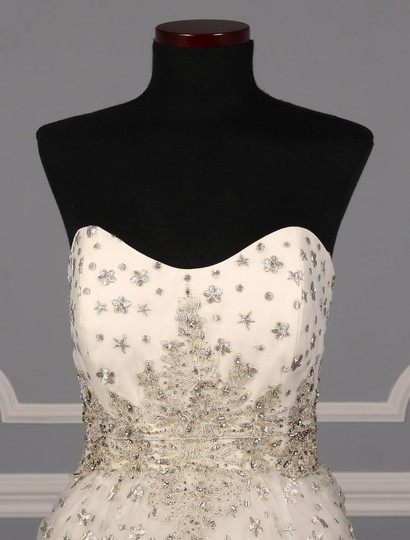 St. Pucchi Ivory/Silver Silk Organza W/Embroidery and Beadwork Cassandra Z234 Formal Wedding Dress Size 6 (S) Image 2