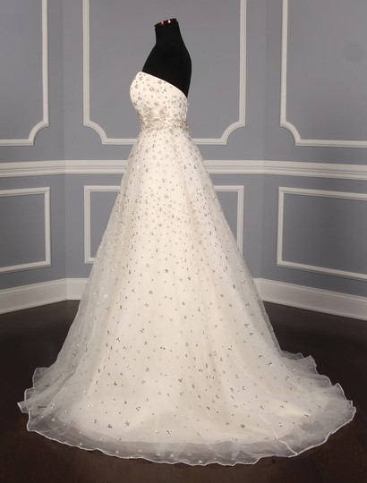 St. Pucchi Ivory/Silver Silk Organza W/Embroidery and Beadwork Cassandra Z234 Formal Wedding Dress Size 6 (S) Image 5