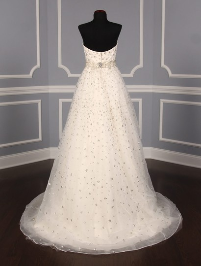 St. Pucchi Ivory/Silver Silk Organza W/Embroidery and Beadwork Cassandra Z234 Formal Wedding Dress Size 6 (S) Image 6