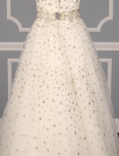 St. Pucchi Ivory/Silver Silk Organza W/Embroidery and Beadwork Cassandra Z234 Formal Wedding Dress Size 6 (S) Image 8