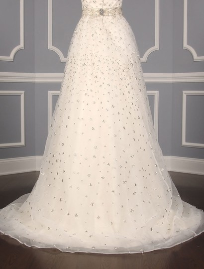St. Pucchi Ivory/Silver Silk Organza W/Embroidery and Beadwork Cassandra Z234 Formal Wedding Dress Size 6 (S) Image 9