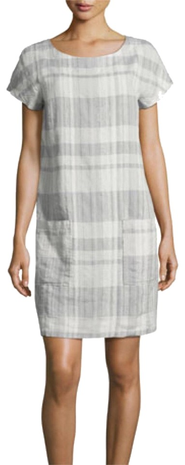 c9c2e6dfbc Eileen Fisher Grey Organic Linen and Cotton Plaid Short Casual Dress ...