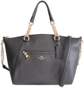 Coach Prairie Leather Chain Satchel in Chestnut
