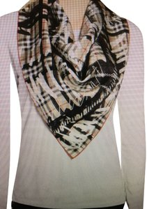 Burberry New with Tag Burberry Scribbled Vintage Check Silk Scarf