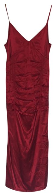 Item - Red Gathered Mid-length Cocktail Dress Size 2 (XS)