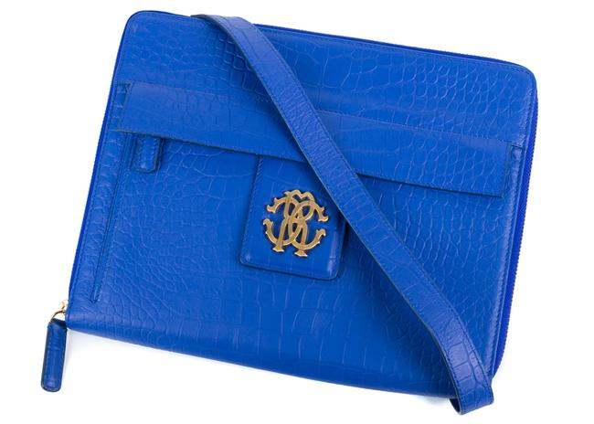 Item - Blue Textured Leather Tablet Case Tech Accessory