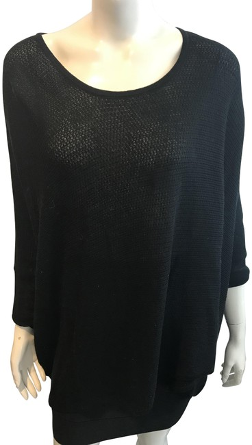 Item - 10318 Perforated Holes Cotton Cashmere Blend Black Sweater