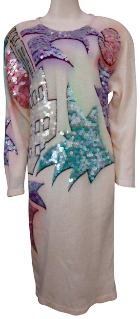 Item - Multi-color Cashmere Vintage Sequin Sweater Long Night Out Dress Size 14 (L)