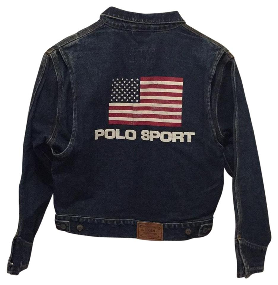 2b4f2255c8 Polo Ralph Lauren Dark Denim Wash Vintage Flag Jacket Size 4 (S ...