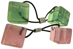 Louis Vuitton Set of 2 Limited Edition Elastic Resin Cube clear dice Hair Tie