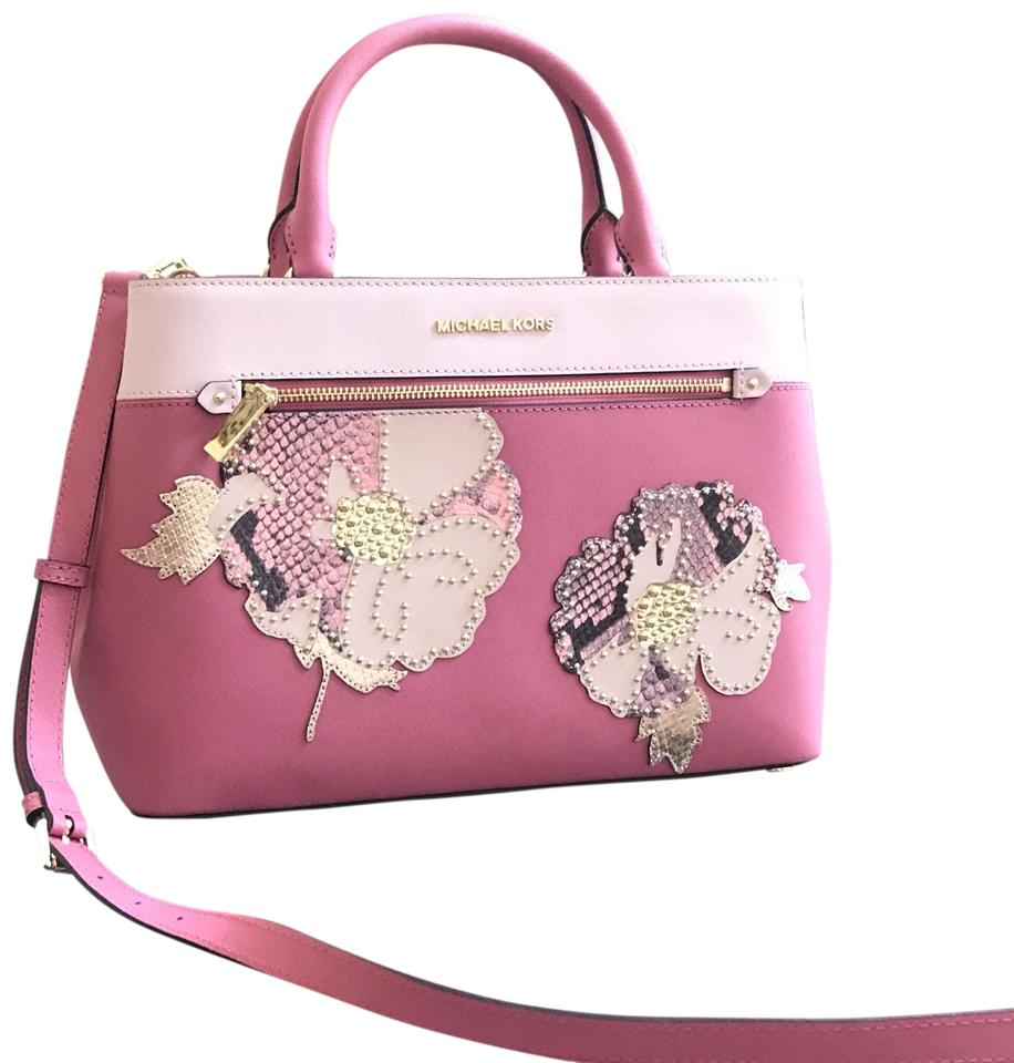 Michael Kors Hailee Medium Flower Studded Handbag Tulip Leather Satchel