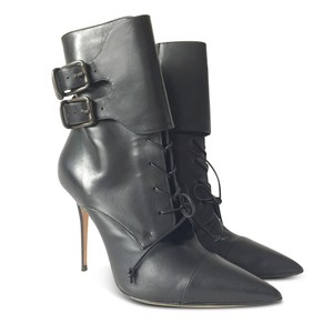 Manolo Blahnik Ankle Stiletto Leather Pointed Toe Black Boots