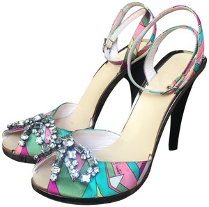 "Emilio Pucci Satin Leather 5"" Heels .8"" Platform Multicolored Sandals"