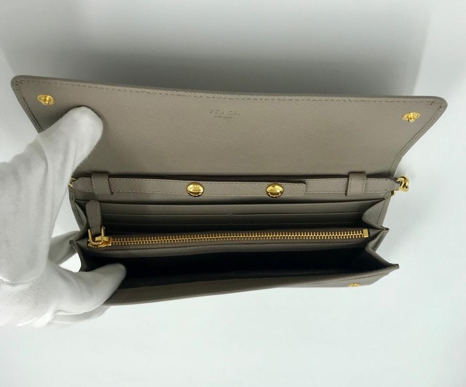 767b0749865a08 Prada Saffiano Metal Chain Wallet Argilla / Dark Gray Leather ...