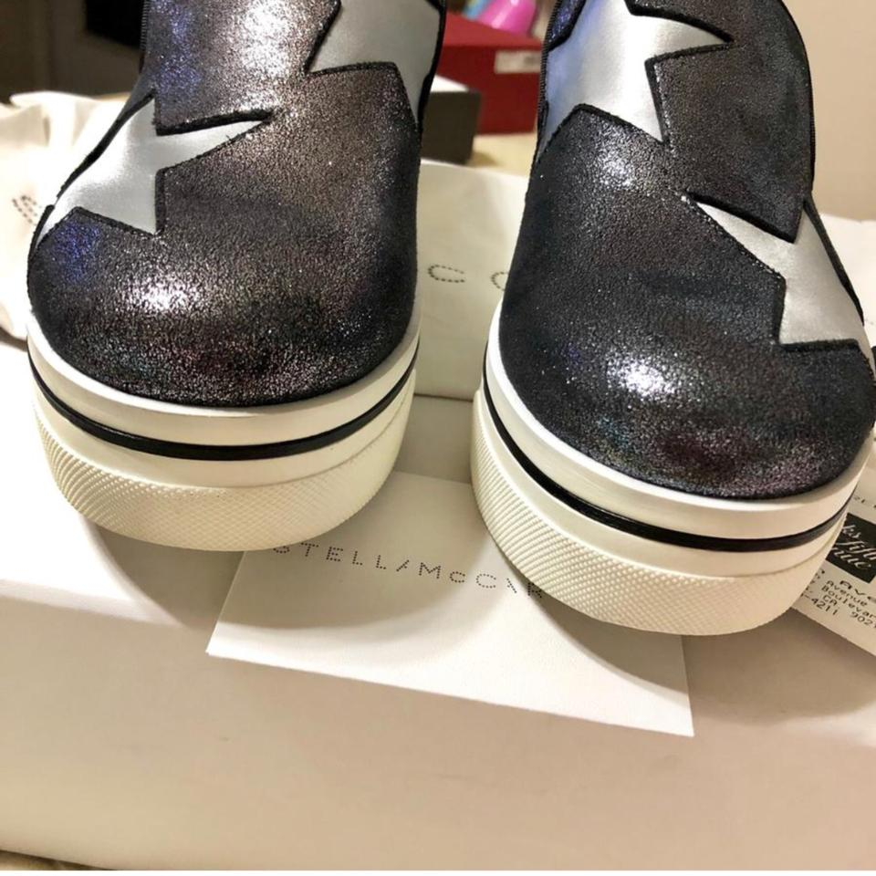 dd0203e4c9f Stella McCartney Silver 2018 Binx Star Iridescent Loafers Black Metallic 38  Platforms Size US 8 Regular (M
