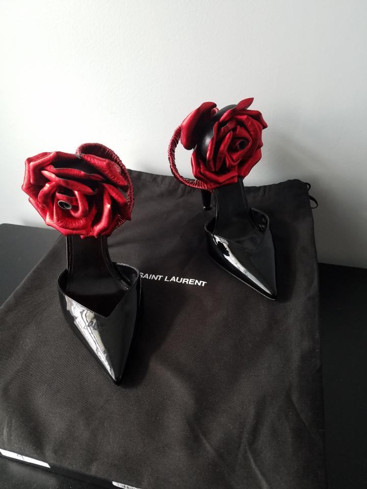 87902f3a39b Saint Laurent Black and Red Freja 105 with Flower In Patent Leather Pumps  Size EU 36 (Approx. US 6) Regular (M, B) - Tradesy