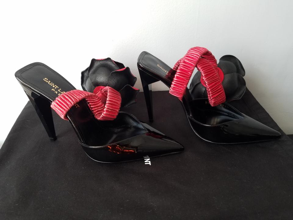 82c2345ed54 Saint Laurent Black and Red Freja 105 with Flower In Patent Leather ...