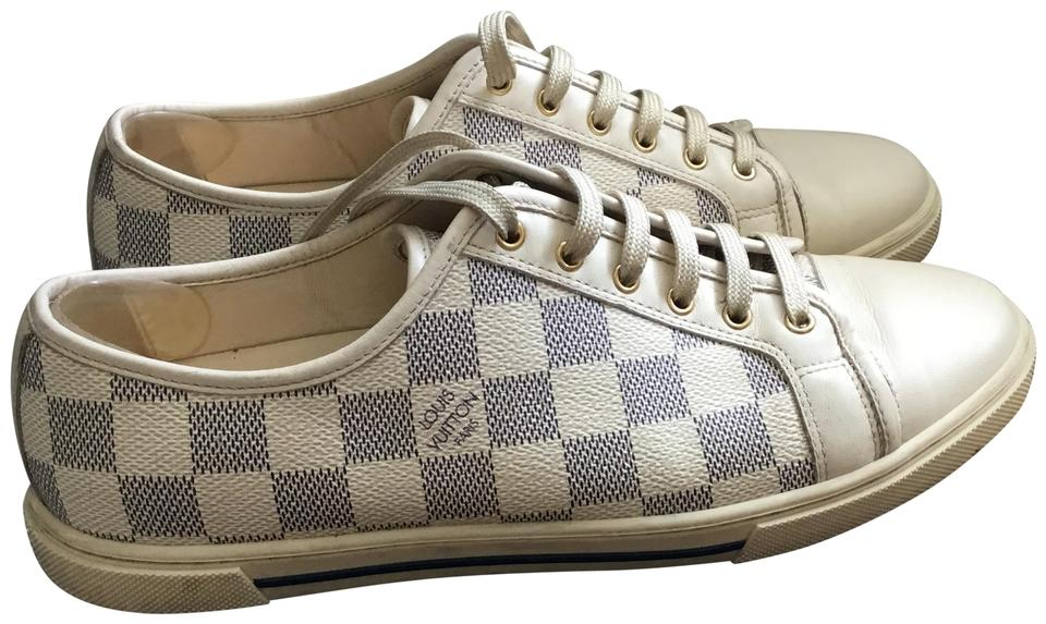 fbe4ca4a36ba Louis Vuitton Blue and Off White Rare Htf So Hot Damier Azur Womens Punchy  Sneakers Sneakers