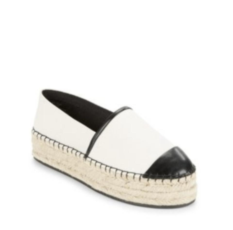 39e8827d717 Karl Lagerfeld Off White Black Albi2 Espadrilles Leather Trimmed Sandals