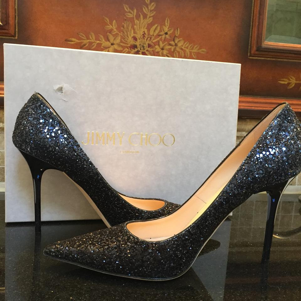 bbd9c6ea0b Jimmy Choo Black and Navy Abel Glitter Pumps Size US 9.5 Regular (M ...