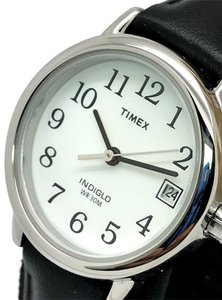 Timex Timex T2H331 Women's Easy Reader Black Leather Band Petite Watch Indig