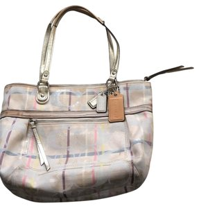 Coach Tote in beige, nude, gold, pink, green, turquoise, white d042b282e1