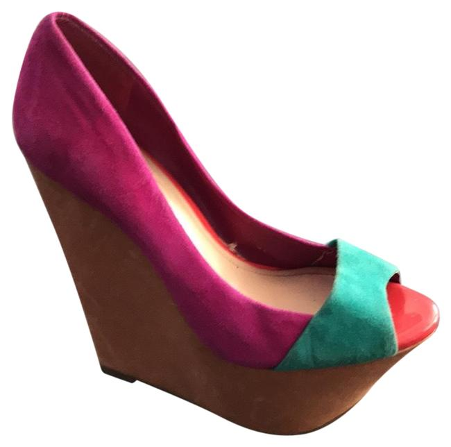 Item - Turquoise and Fuchsia Wedges Size US 5.5 Narrow (Aa, N)