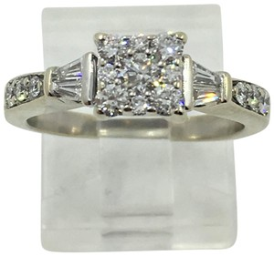 Other Lady's Diamond Fashion Ring 27 Diamonds .80 Carat 14K White Gold Size7