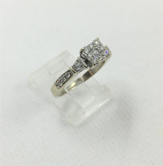 Other Lady's Diamond Fashion Ring 27 Diamonds .80 Carat 14K White Gold Size7 Image 1