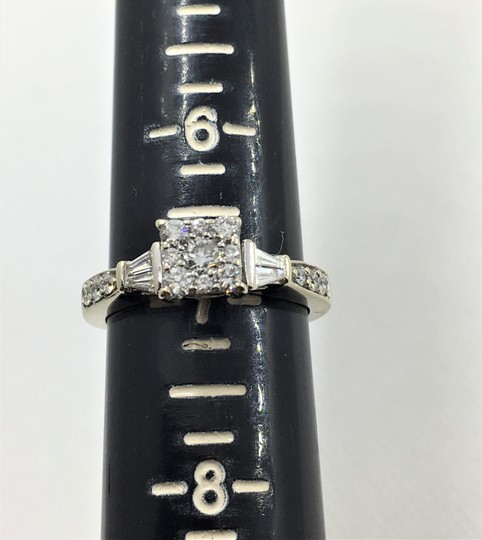 Other Lady's Diamond Fashion Ring 27 Diamonds .80 Carat 14K White Gold Size7 Image 2