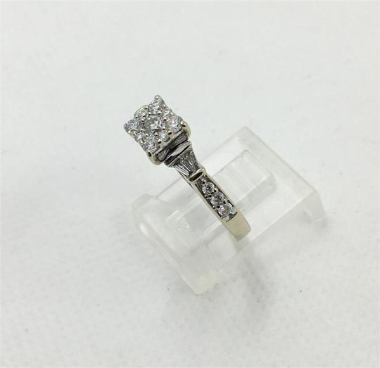 Other Lady's Diamond Fashion Ring 27 Diamonds .80 Carat 14K White Gold Size7 Image 4