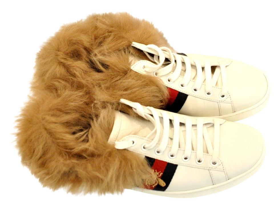 1a25818364a Gucci White Ace Sneaker with Wool Fur Sneakers Sneakers. Size  US 8 ...