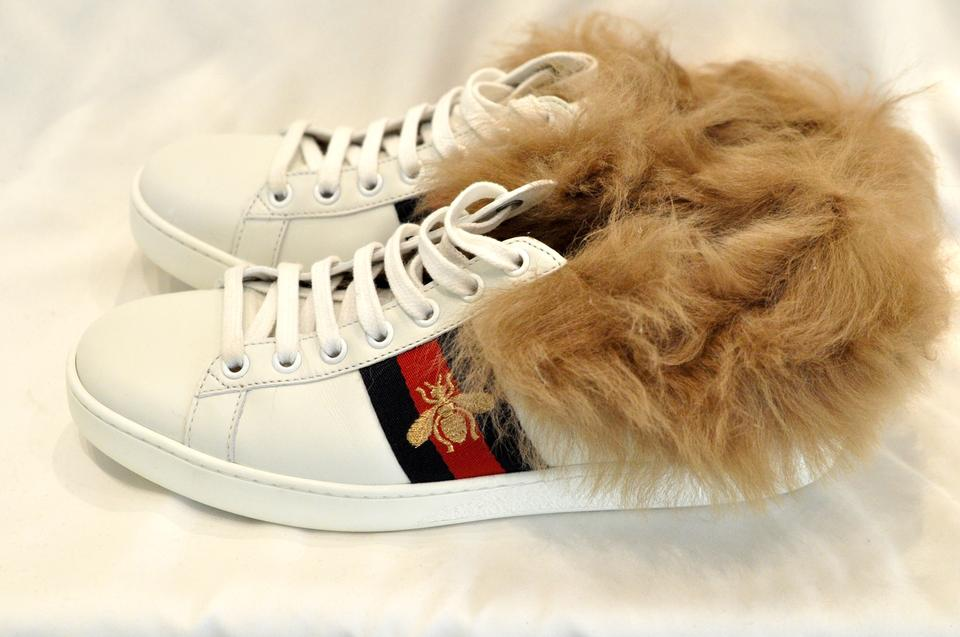 f97c5819d09 Gucci White Ace Sneaker with Wool Fur Sneakers Sneakers Size US 8 Regular  (M
