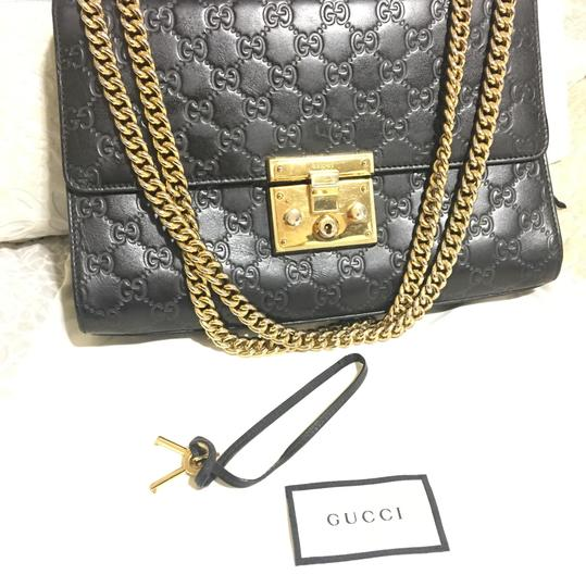 8c76b6d3792601 Padlock Medium Gucci Signature Shoulder Bag Black | Stanford Center ...
