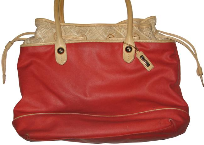 Item - Beach Pool Market Tote Salmon and Cream Leather W Coated Canvas Hobo Bag