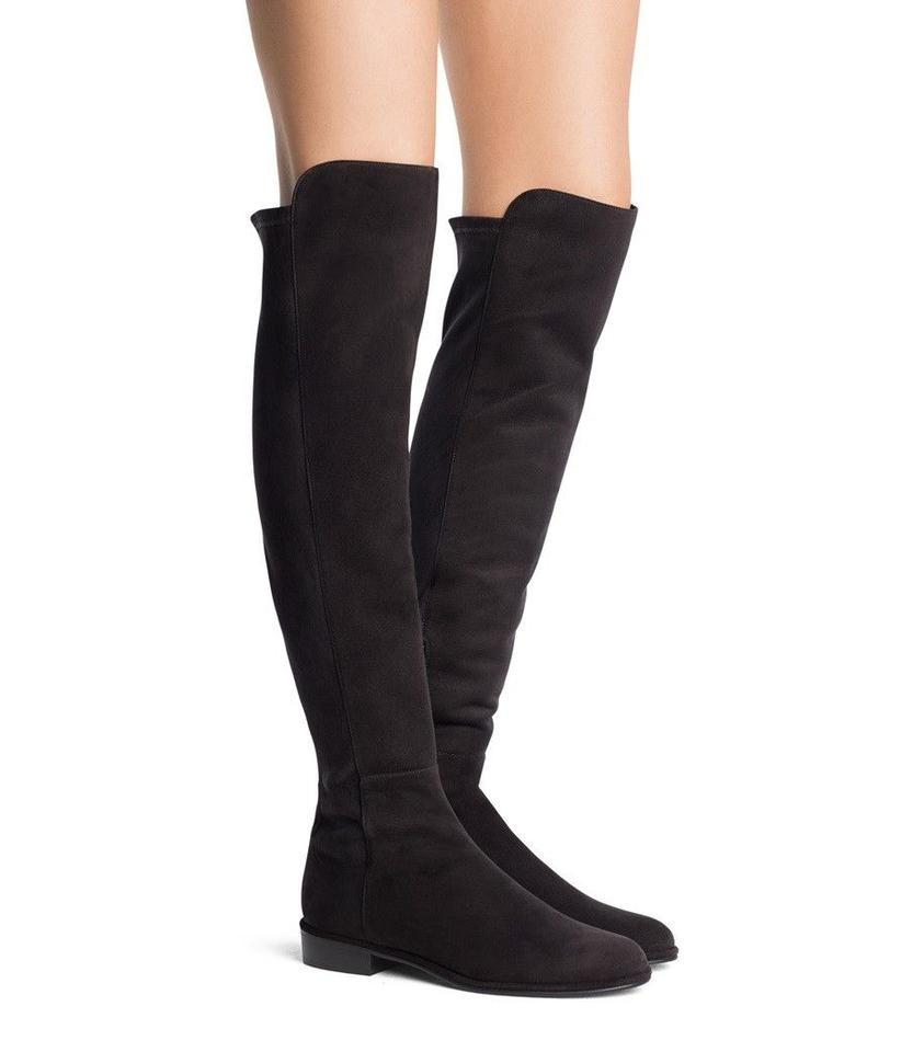 Stuart Leather Weitzman Black Stretch Suede Leather Stuart Over The Knee Boots/Booties 5f6d36