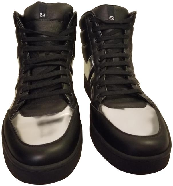 Gucci Black and Metallic Silver High Top Leather Men's ( Runs Big) Sneakers Size US 11 Wide (C, D) Gucci Black and Metallic Silver High Top Leather Men's ( Runs Big) Sneakers Size US 11 Wide (C, D) Image 1