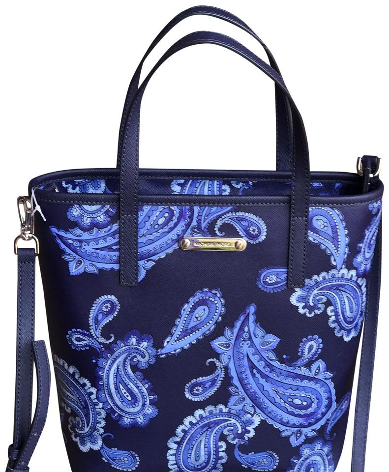 78917df8be7e Michael Kors Bag Emry Admiral Paisley Printed Medium Blue Leather ...