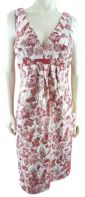 Item - Rust Red Champagne Embroidered Jacquard Sheath Mid-length Formal Dress Size 14 (L)