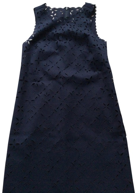 Item - Dark Blue Perforated Mid-length Cocktail Dress Size Petite 2 (XS)