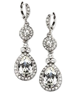 Givenchy Silver-Tone Swarovski Element Double Drop Earrings