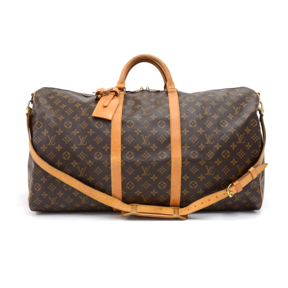 louis vuitton keepall vintage 60 bandouliere duffel strap brown canvas weekend travel bag. Black Bedroom Furniture Sets. Home Design Ideas