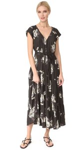 Free People Print V-neck Belted Tiered Polyester Dress