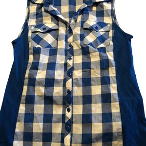 Christopher & Banks Button Down Shirt Blue and White