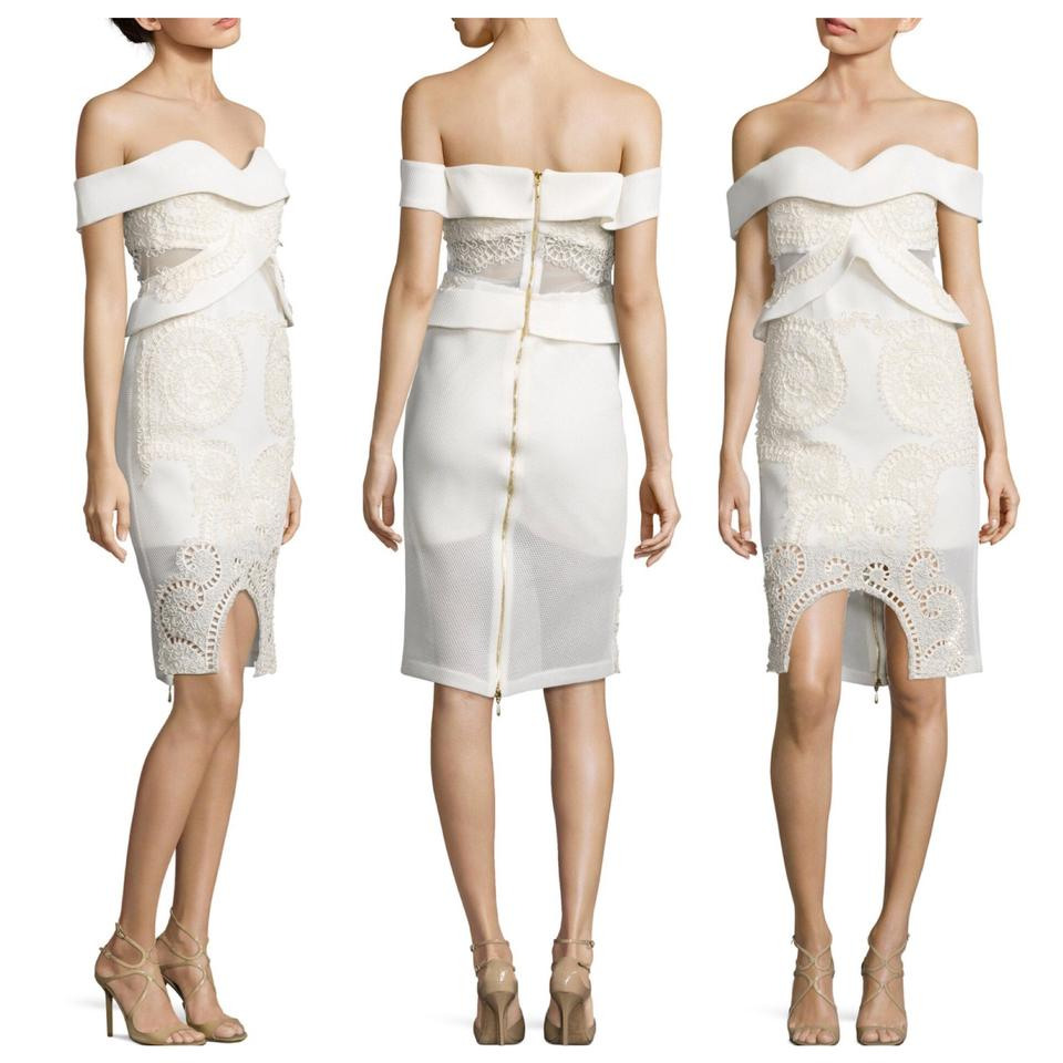 41ffce36bada Thurley White Off-the-shoulder Short Cocktail Dress Size 10 (M ...