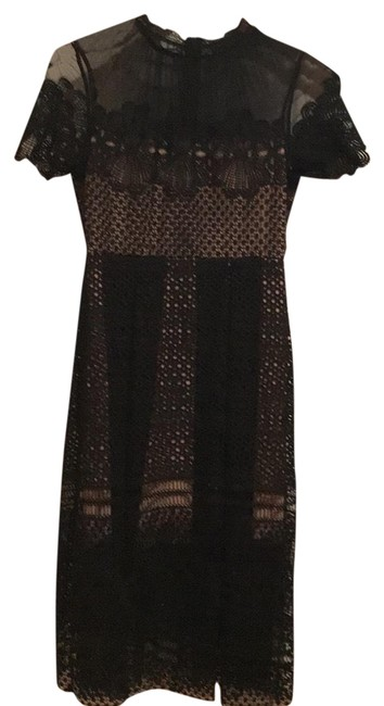 Item - Black and Nude Rn 147635 Mid-length Cocktail Dress Size 4 (S)