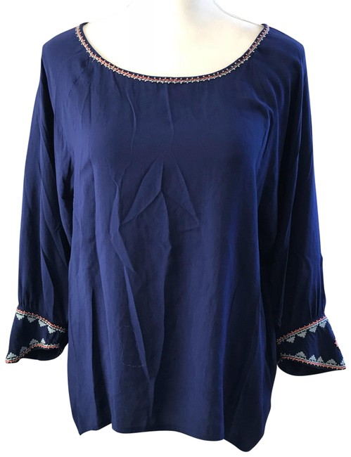 Item - Navy Beaded & Embroidery Detailing Blouse Size 12 (L)